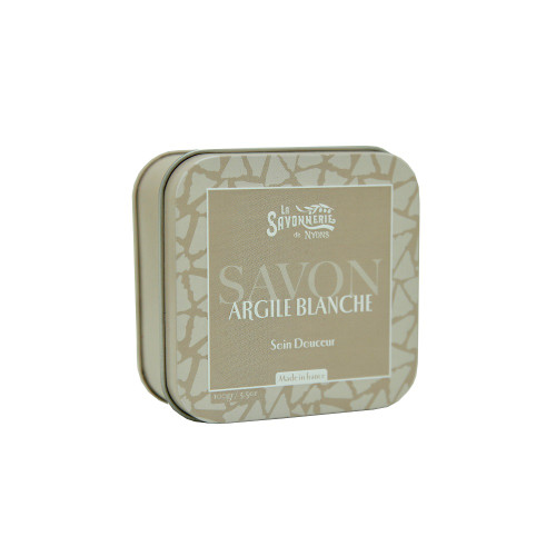 La Savonnerie de Nyons Metal Box Soap White Clay 3.5oz