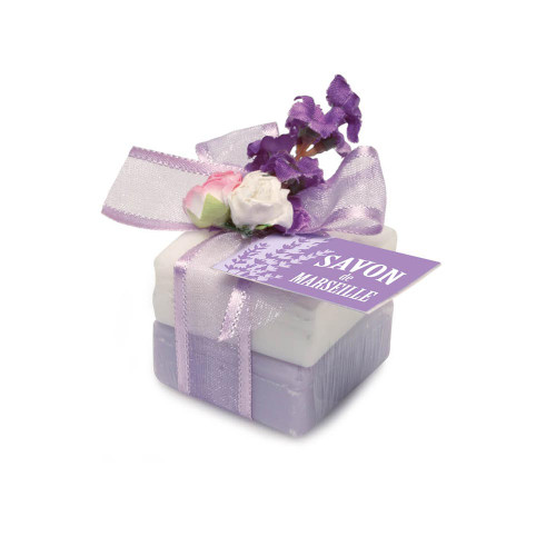 Marseille soap decorated with lavender fragrance and sweet Almond (2 x 0.88 oz)
