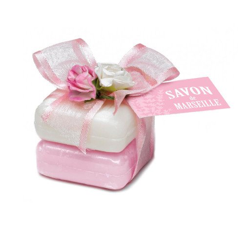 Marseille Soap Decorated Rose and Sweet Almond Fragrance  (2 x 0.88 oz)