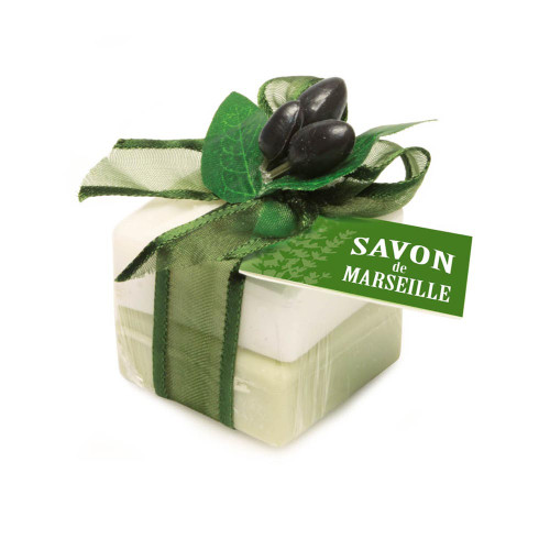 Marseille soap decorated with Olive and sweet Almond Fragrance  (2 x 0.88 oz)