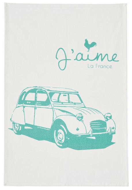 "Coucke Kitchen Towel I love France ""In Car"""