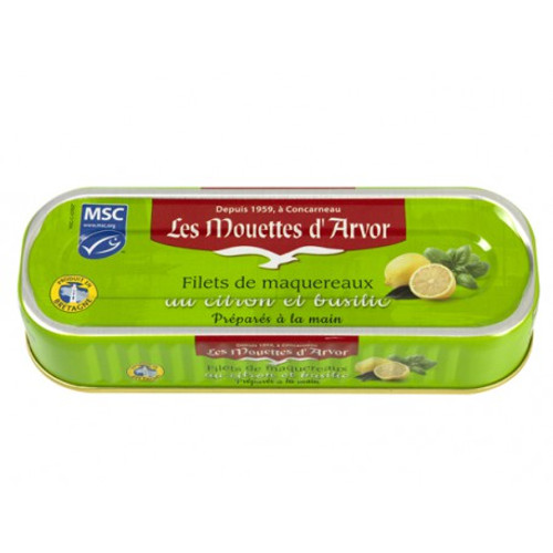 Les Mouettes d'Arvor Mackerel Filets with Lemon and Basil 176g (6.3 oz)
