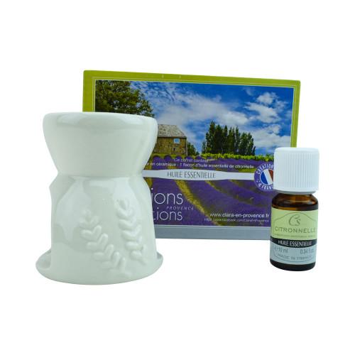 Ceramic diffuser and 1 vial of citronella essential oil