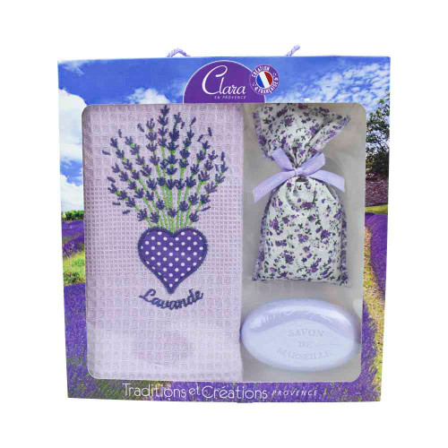 Clara en Provence Purple Gift Set Towel, Lavender Soap, Lavandin Bag
