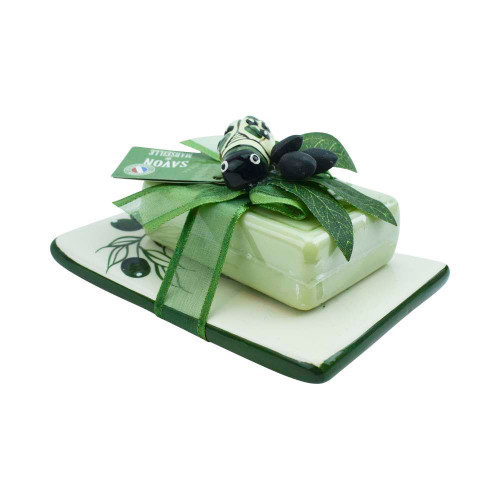 Rectangular Olive Leaves Fragrance Soap on a stoneware and cicada 3.53 oz 100g