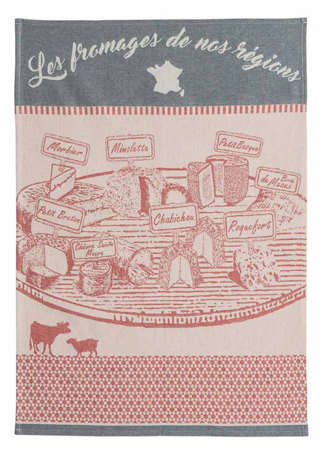 """Coucke Kitchen Towel The Cheeses of Our Regions 20""""x30"""""""