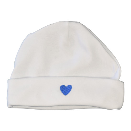 Le Panier Francais Baby Cap with a Blue Heart-Shaped Pattern
