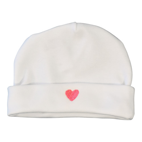 Le Panier Francais Baby Cap with a Pink Heart-Shaped Pattern
