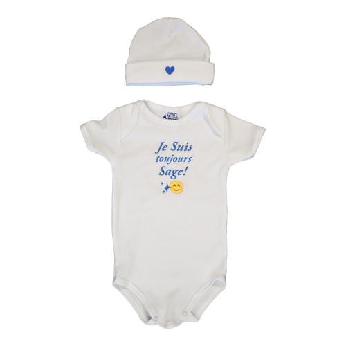 """Le Panier Francais Set Baby Cap and Body """" Je Suis Toujours Sage """" Blue"""