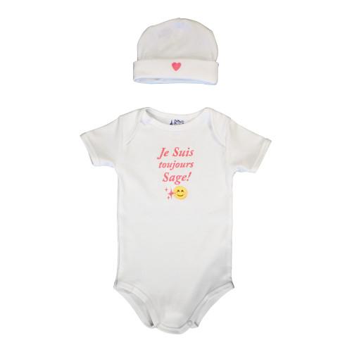 """Le Panier Francais Set Baby Cap and Body """" Je Suis Toujours Sage """"Pink"""