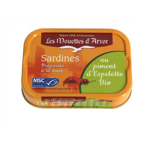 Les Mouettes d'Arvor Sardines MSC* in organic extra virgin olive oil with organic Espelette Chili Pepper