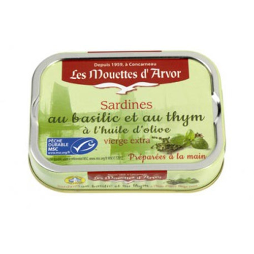 Les Mouettes d'Arvor Sardines MSC* in extra virgin olive oil with bail and thyme