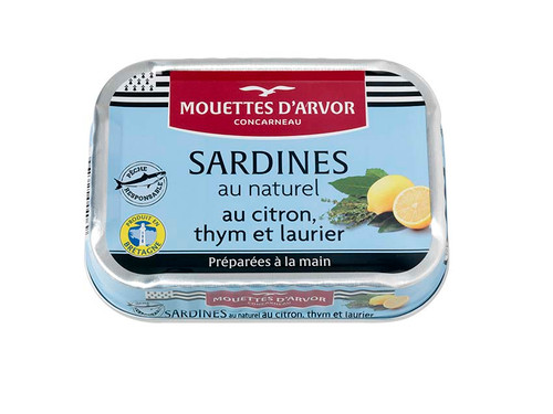 Les Mouettes d'Arvor Sardines MSC* natural with lemon, thyme and bay leaves