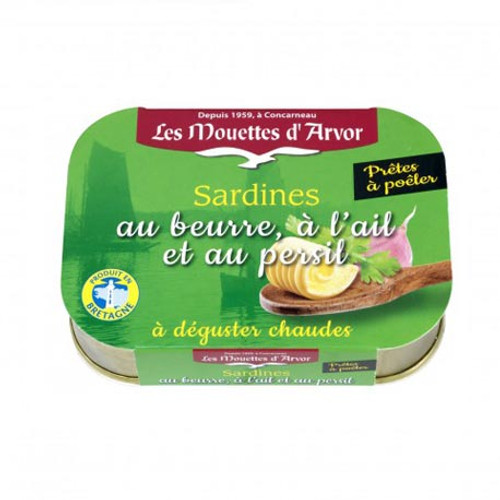 Les Mouettes d'Arvor Sardines with butter and garlic parsley
