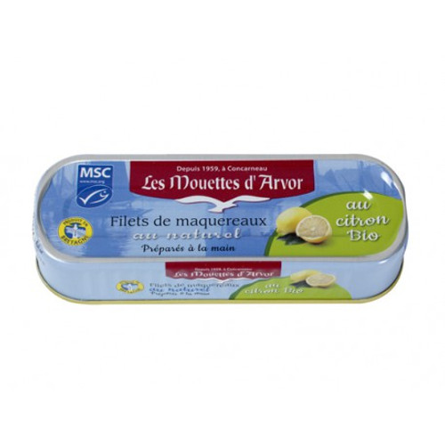 Les Mouettes d'Arvor mackerel MSC* Fillets in brine with Organic Lemon