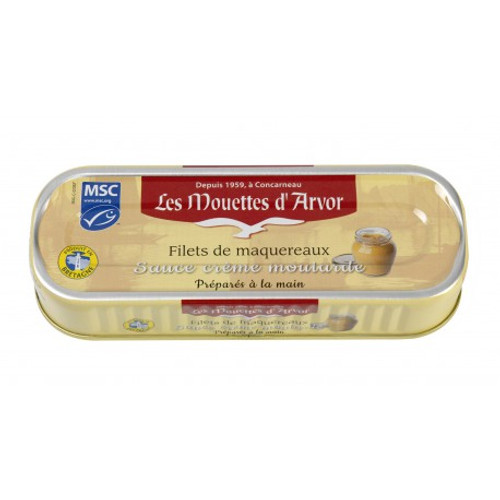 Les Mouettes d'Arvor mackerel MSC* fillets in mustard sauce