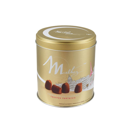 Mathez Plain French Chocolate Truffles Paris Metal Tin 8.81 oz