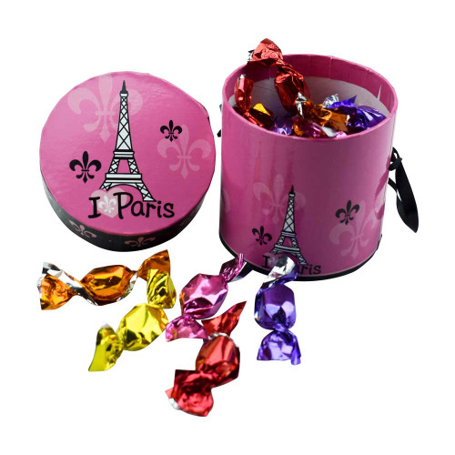 Le panier Francais Round Pink Paris Box Organic Hard Mini Fruit Candy 90g/3.17oz