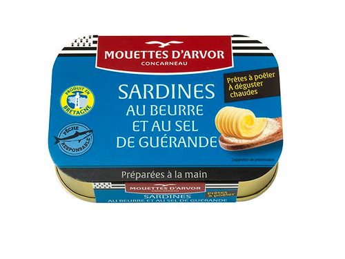 Les Mouettes d'Arvor Sardines with butter and sea salt from Guerande