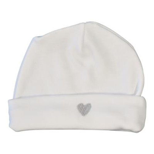 Le Panier Francais Baby Cap with a Grey Heart-Shaped Pattern