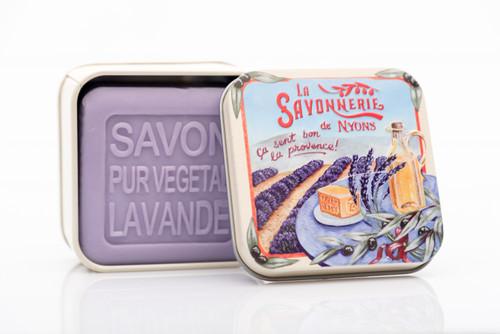 La Savonnerie de Nyon Metal Box  Lavender Fields Lavender Soap 100g/3.5 oz