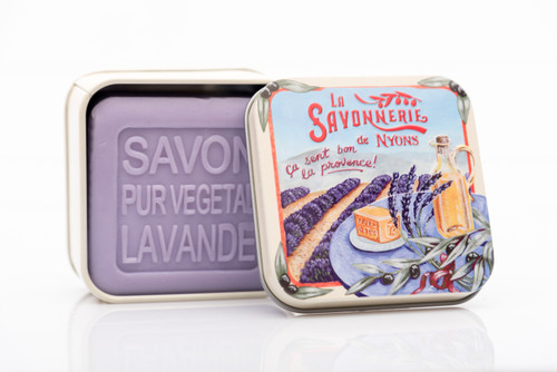 La Savonnerie de Nyon Metal Box  Lavender Fields Lavender Soap 100g/3.5 oz