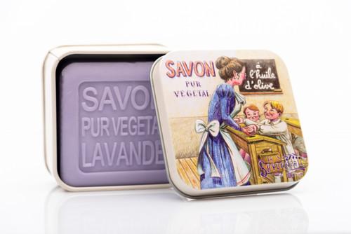 La Savonnerie de Nyon Metal Box School Lavender Soap 100g/3.5 oz