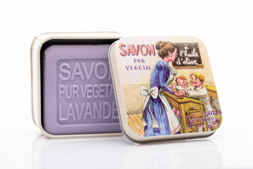 La Savonnerie de Nyon Metal Box School Lavender Soap 100g/3.5 oz