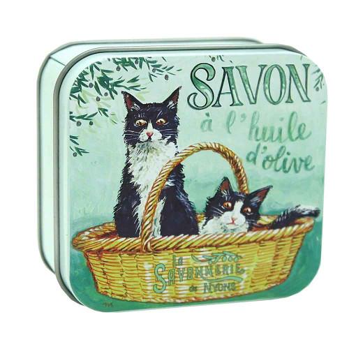 La Savonnerie de Nyons Metal Box Tuxedo Cats Cotton Flower Soap 100g/3.51 oz