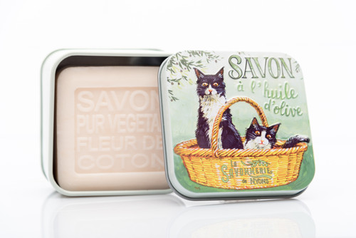 La Savonnerie de Nyons Metal Box Tuxedo Cats Cotton Flower Soap 100g/3.51 oz