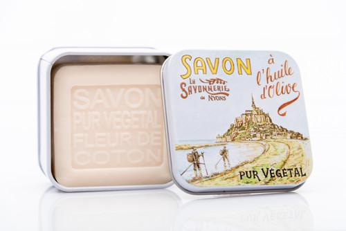 """La Savonnerie de Nyons metal box """"LeMontSaint-Michel""""100g/ 3.52 oz"""
