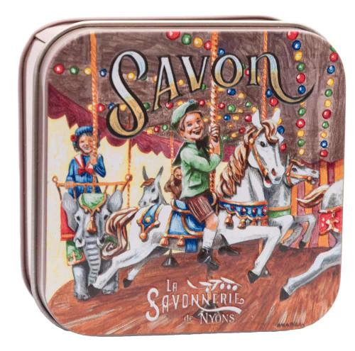 La Savonnerie de Nyons Metal Box Child and Caroussel 100g/ 3.5 oz