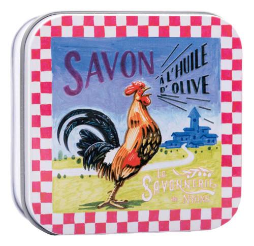 La Savonnerie de Nyons Tin Box Rooster 100g/ 3.52 oz