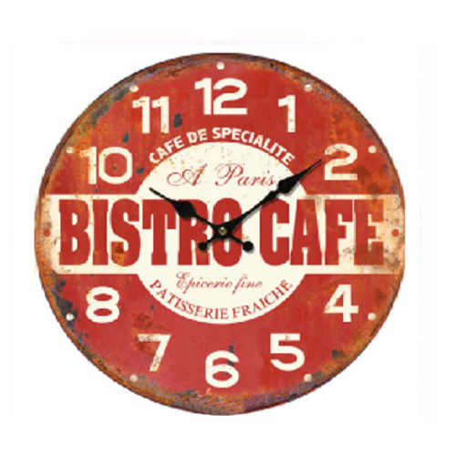 Clock Bistro Red 11 inch