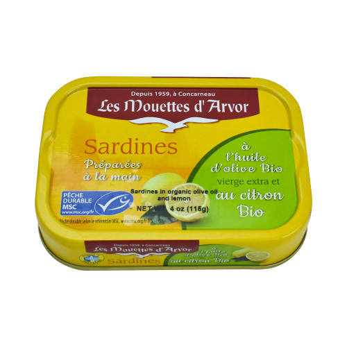 Les Mouettes d'Arvor Sardines MSC*in Organic Olive Oil and Lemon