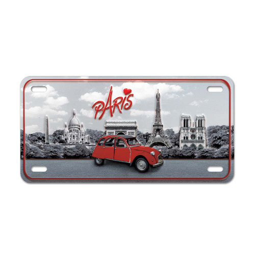 Paris and deux chevaux Vintage Metal Plate