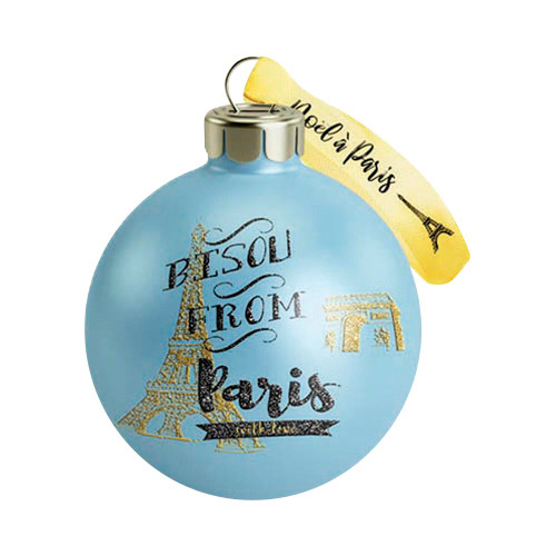 "Holiday Ornament - Blue Pastel ""Bisou from Paris"""