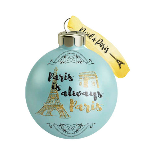 "Holiday Ornament - Green ""Paris is always Paris"""