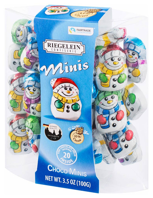 "Riegelein ""MINIS"" Chocolate Little Snowmen in Box 100 G / 3.5 oz."