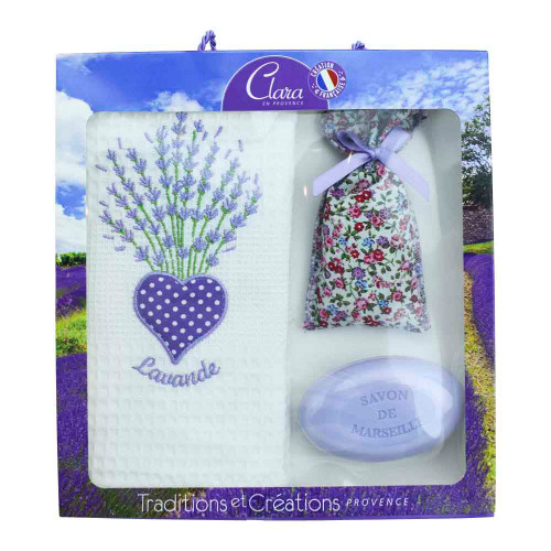 Clara en Provence White Gift Set Towel, Lavender Soap, Lavandin Bag