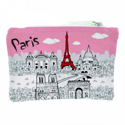 Cotton Coin Purse Paris Coral Pastel