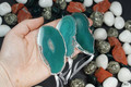 Silver Plated Green Agate Slice Ornament Set of 3