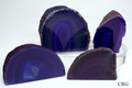 "Set of 4 Purple Brazilian Polished Agate Geode w/cut Base (2""-3"")"