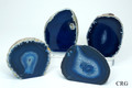 Set of 4 Blue Brazilian Polished Agate Geode w/cut Base