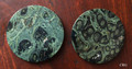 "Set of 2 Madagascar Kambaba ""Crocodile"" Jasper Gemstone Coasters 92 mm dia. Wholesale Bulk"