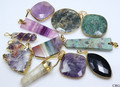"100 pc ""Super Assortment"" Gemstone Pendants- Mixed Styles Wholesale Bulk (PNDT-100)"