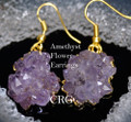 old Plated Amethyst Crystal Stalactite ROSE TIP Earring Pair (Petite) 10-15mm (random purple color light and dark) Grade A! EAR208