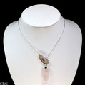 Silver Plated Oco Geode w/Rose Quartz Point Y-Chain Necklace (MR88-SR)
