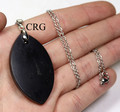 "Russian Shungite Flower Petal Pendant w/ Silver Bail and 18"" Chain - Qty 1"