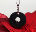 """Russian Shungite Ring Pendant w/ Silver Bail and 18"""" Chain - Qty. 1"""